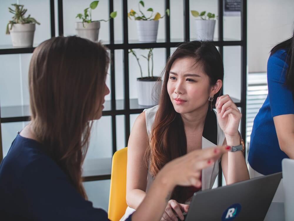 Office girl meeting